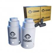 kit Carvão de Coco 2kg Longa Duração e 02 Abafador Branco Pequeno/Médio em Alumínio - Cosmic