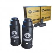 kit Carvão de Coco 2kg Longa Duração e 02 Abafador Preto Grande em Alumínio - Cosmic