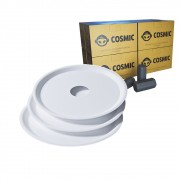 kit Carvão de Coco 2kg Longa Duração e 03 Prato Branco  em Alumínio - Cosmic