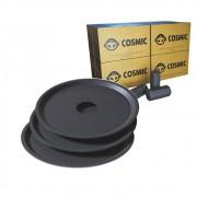kit Carvão de Coco 2kg Longa Duração e 03 Prato Preto  em Alumínio - Cosmic
