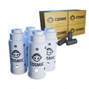 kit Carvão de Coco 2kg Longa Duração e 04 Abafador Branco Grande em Alumínio - Cosmic