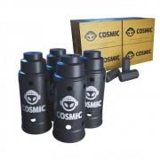 kit Carvão de Coco 2kg Longa Duração e 04 Abafador Preto Grande em Alumínio - Cosmic