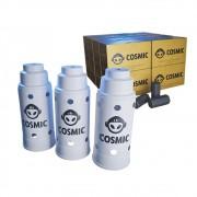 kit Carvão de Coco 4kg Longa Duração e  03 Abafador Branco Grande em Alumínio - Cosmic