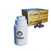 kit Carvão de Coco 4kg Longa Duração e Abafador Branco Pequeno/Médio em Alumínio - Cosmic