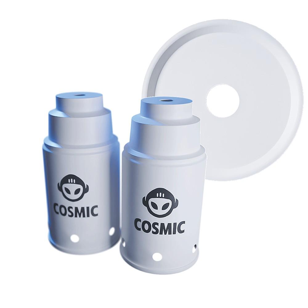 kit 02 Abafador Branco Pequeno/Médio  e Prato Branco em Alumínio com Design Moderno e Minimalista - Cosmic