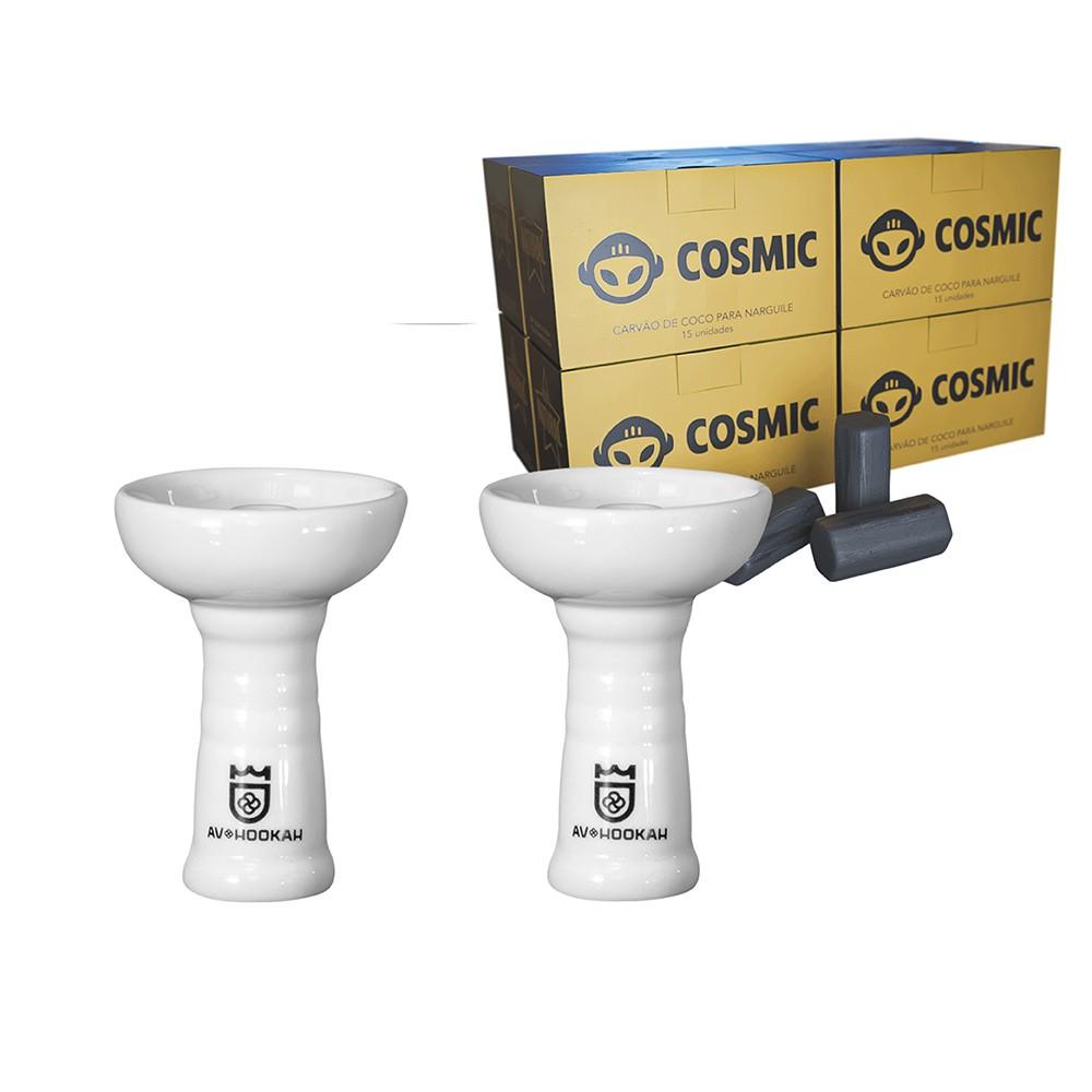 Kit 02 Rosh Av Cerâmica Estilo Oriente Branco e Carvão de Coco 2kg - Cosmic
