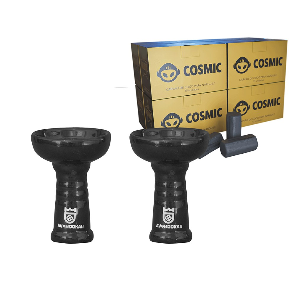 Kit 02 Rosh Av Cerâmica Estilo Oriente Preto e Carvão de Coco 2kg - Cosmic