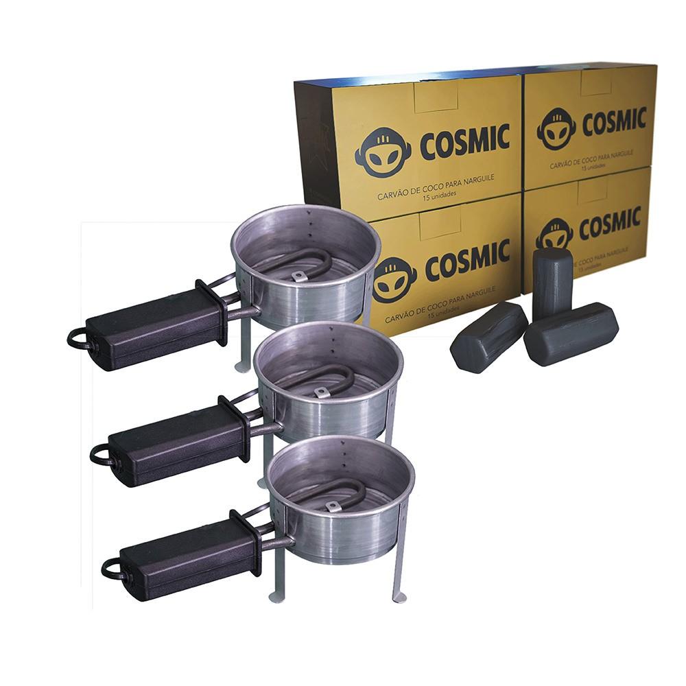 Kit 03 Acendedor Fogareiro Elétrico 110V e Carvão de Coco 1kg - Cosmic