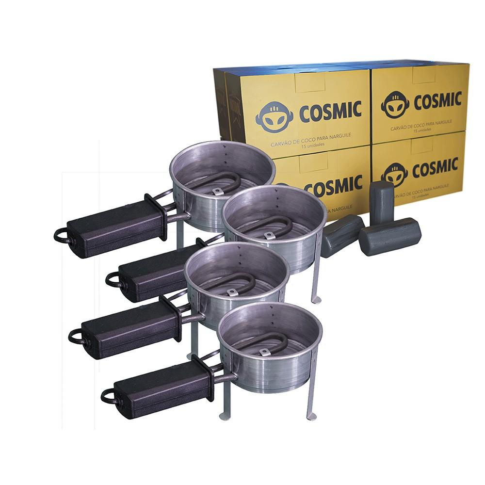 Kit 04 Acendedor Fogareiro Elétrico 110V e Carvão de Coco 2kg - Cosmic