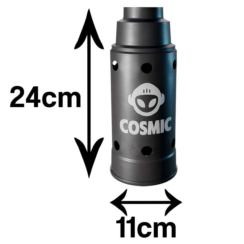 kit Carvão de Coco 1kg Longa Duração e 03 Abafador Preto Grande em Alumínio - Cosmic