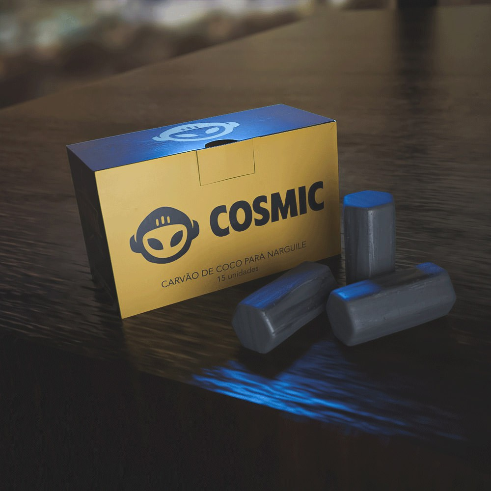 kit Carvão de Coco 1kg Longa Duração e 03 Abafador Preto Pequeno/Médio em Alumínio - Cosmic
