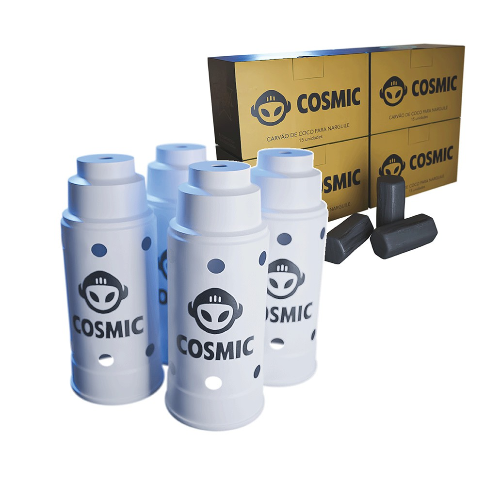 kit Carvão de Coco 1kg Longa Duração e 04 Abafador Branco Grande em Alumínio - Cosmic