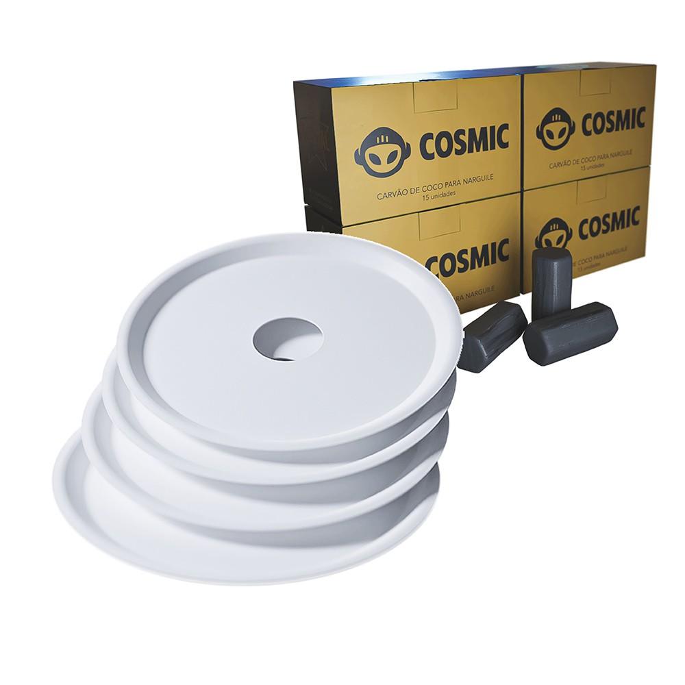 kit Carvão de Coco 1kg Longa Duração e 04 Prato Branco  em Alumínio - Cosmic