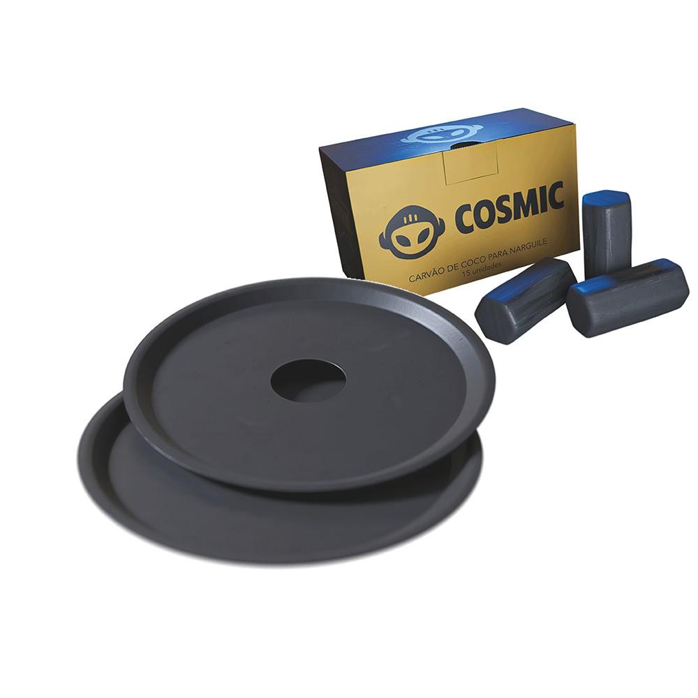 kit Carvão de Coco 250g Longa Duração e 02 Prato Preto  em Alumínio - Cosmic
