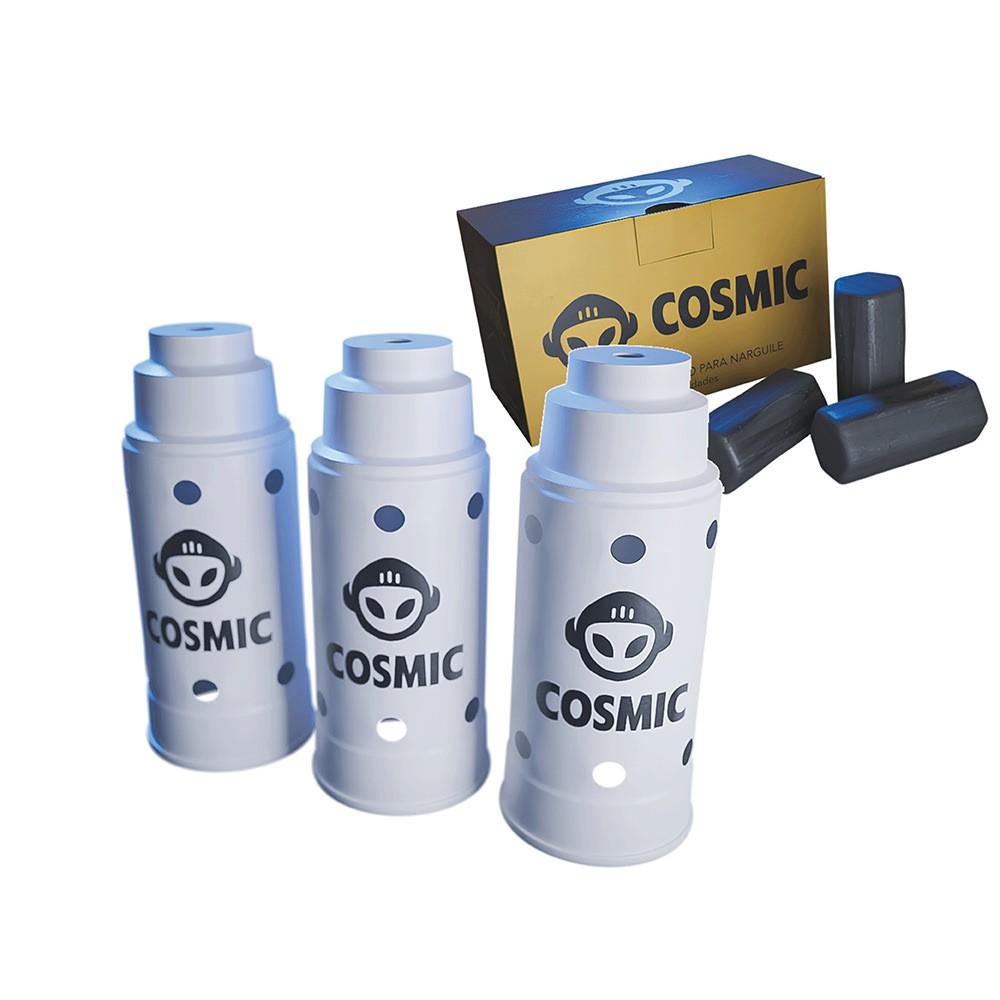 kit Carvão de Coco 250g Longa Duração e 03 Abafador Branco Grande em Alumínio - Cosmic
