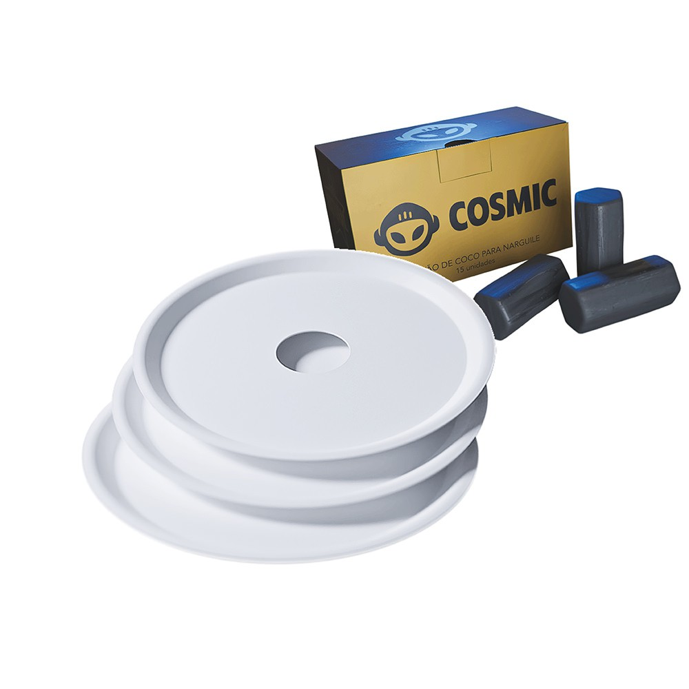 kit Carvão de Coco 250g Longa Duração e 03 Prato Branco  em Alumínio - Cosmic