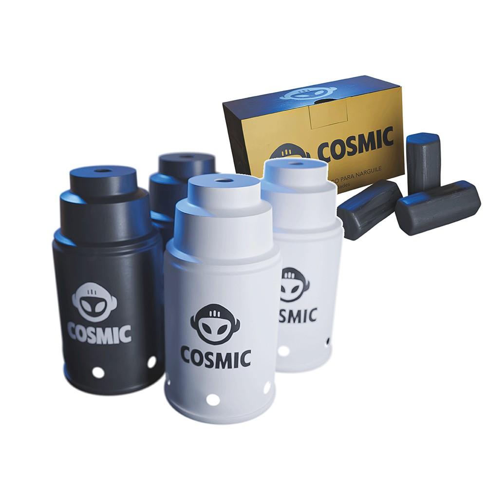 kit Carvão de Coco 250g Longa Duração e 04 Abafador Branco/Preto Pequeno/Médio em Alumínio - Cosmic