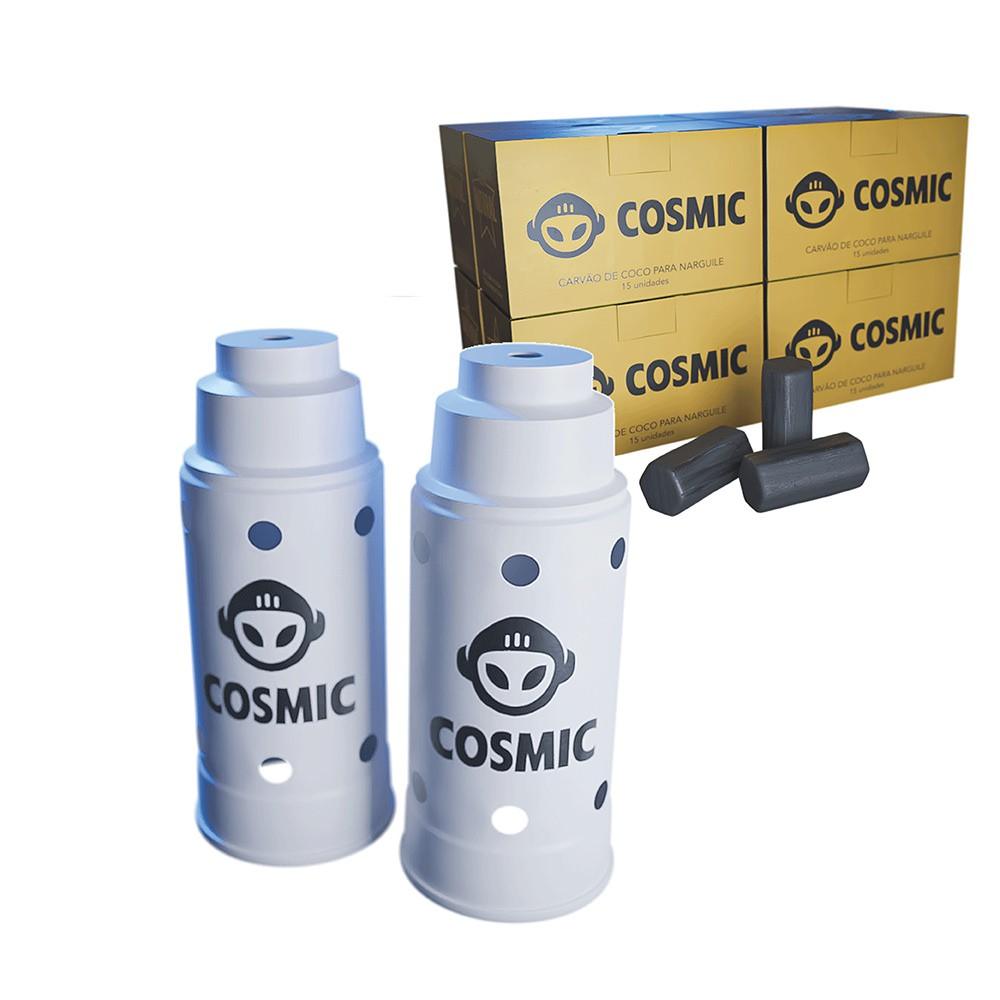 kit Carvão de Coco 2kg Longa Duração e 02 Abafador Branco Grande em Alumínio - Cosmic