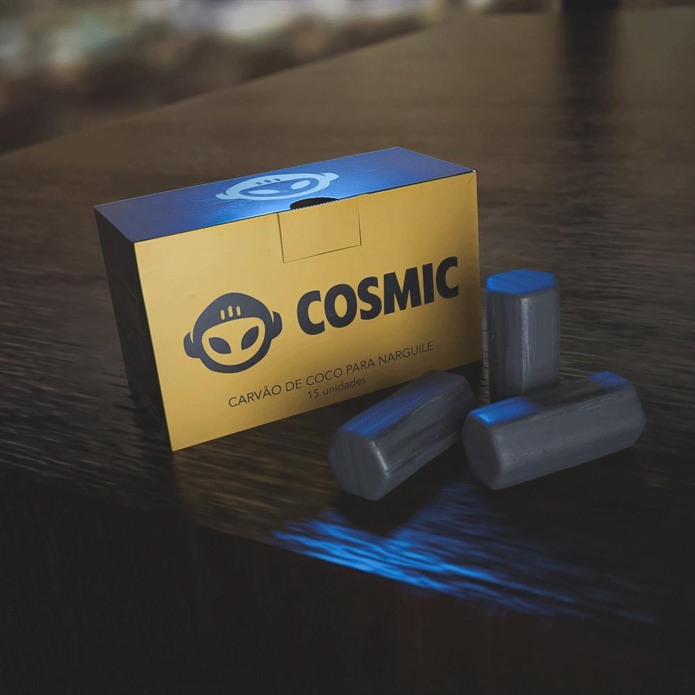 kit Carvão de Coco 2kg Longa Duração e 02 Abafador Preto Pequeno/Médio em Alumínio - Cosmic