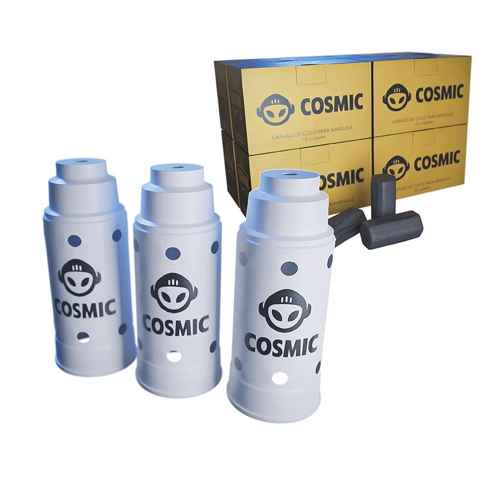 kit Carvão de Coco 2kg Longa Duração e 03 Abafador Branco Grande em Alumínio - Cosmic