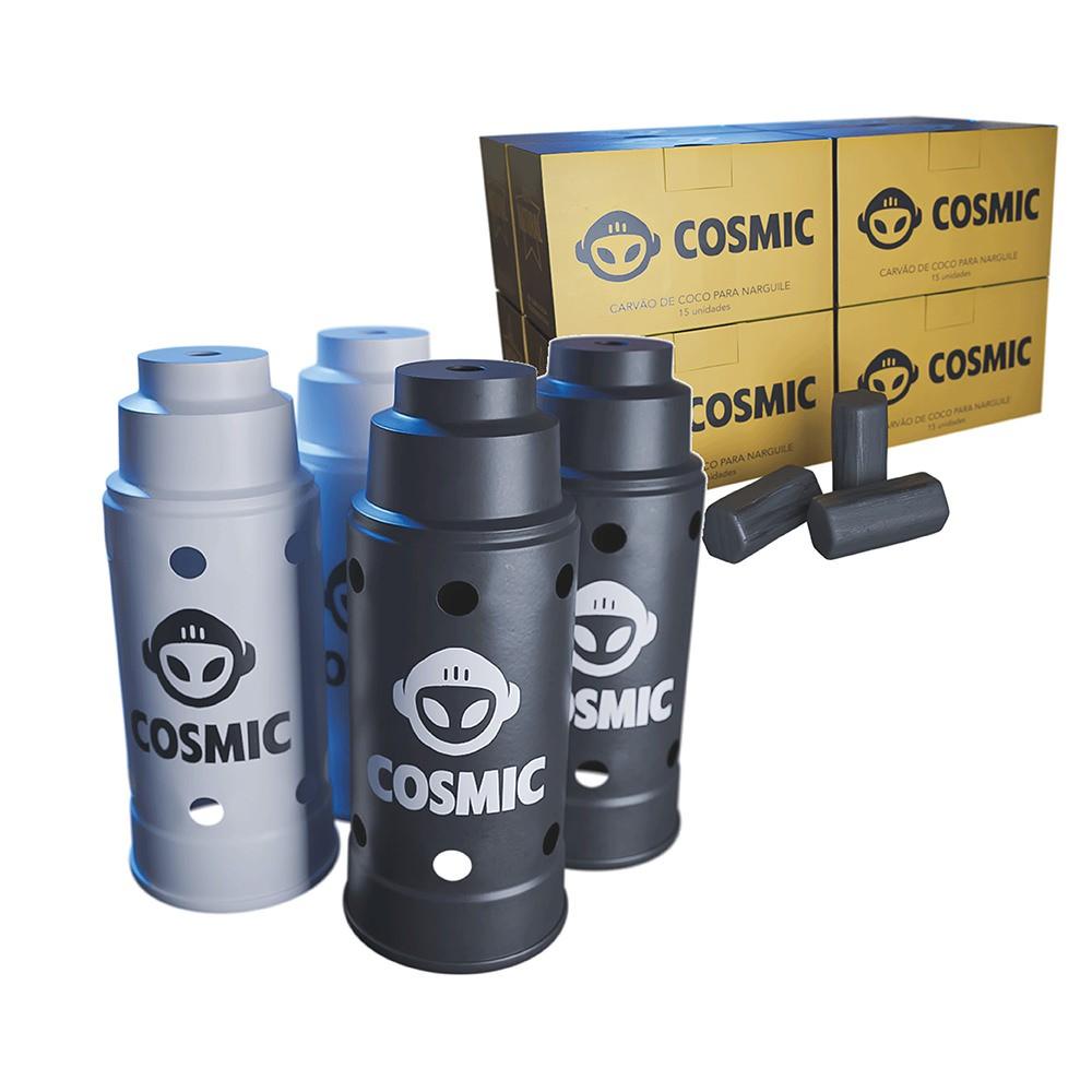 kit Carvão de Coco 2kg Longa Duração e 04 Abafador Branco/Preto Grande em Alumínio - Cosmic