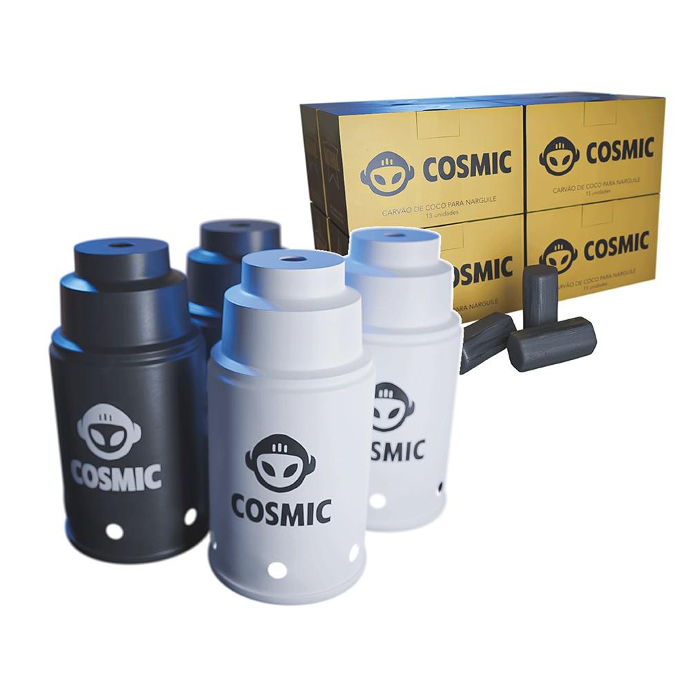kit Carvão de Coco 2kg Longa Duração e 04 Abafador Branco/Preto Pequeno/Médio em Alumínio - Cosmic