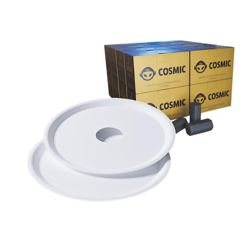 kit Carvão de Coco 4kg Longa Duração e  02 Prato Branco  em Alumínio - Cosmic