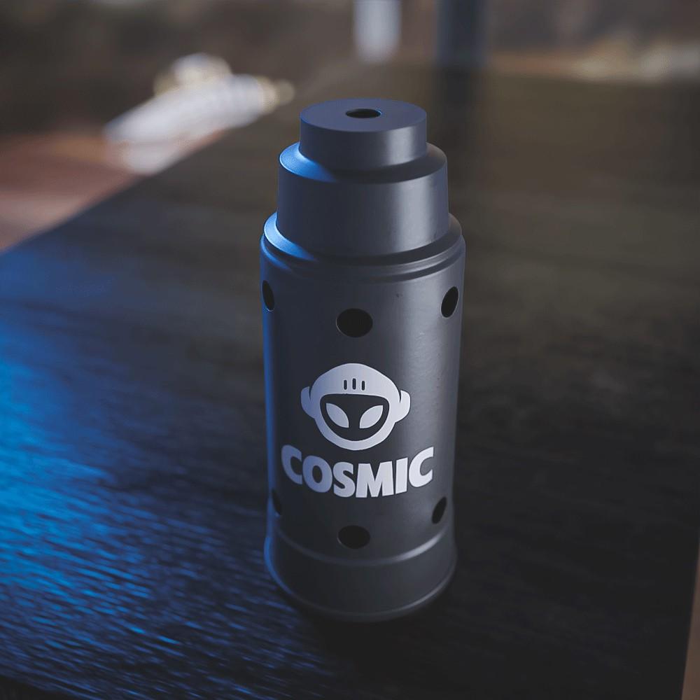 kit Carvão de Coco 4kg Longa Duração e  04 Abafador Preto Grande em Alumínio - Cosmic