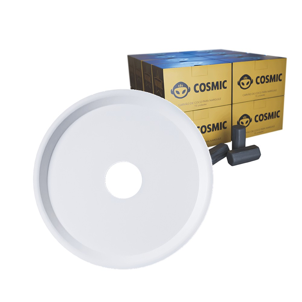 kit Carvão de Coco 4kg Longa Duração e Prato Branco  em Alumínio - Cosmic