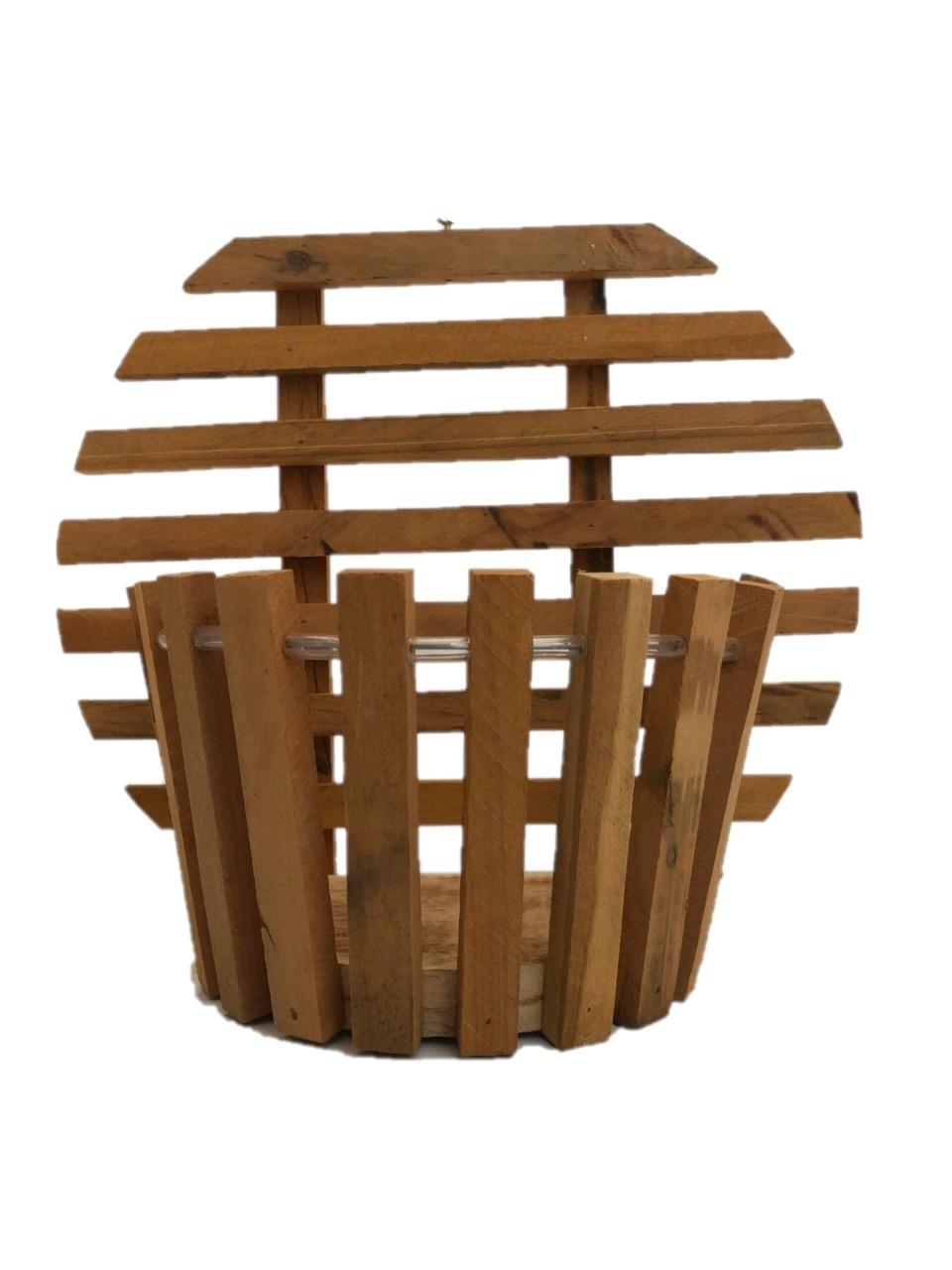 Cachepot de madeira para parede com fundo redondo