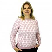 Blusão Tricot Coração Rosa 4972