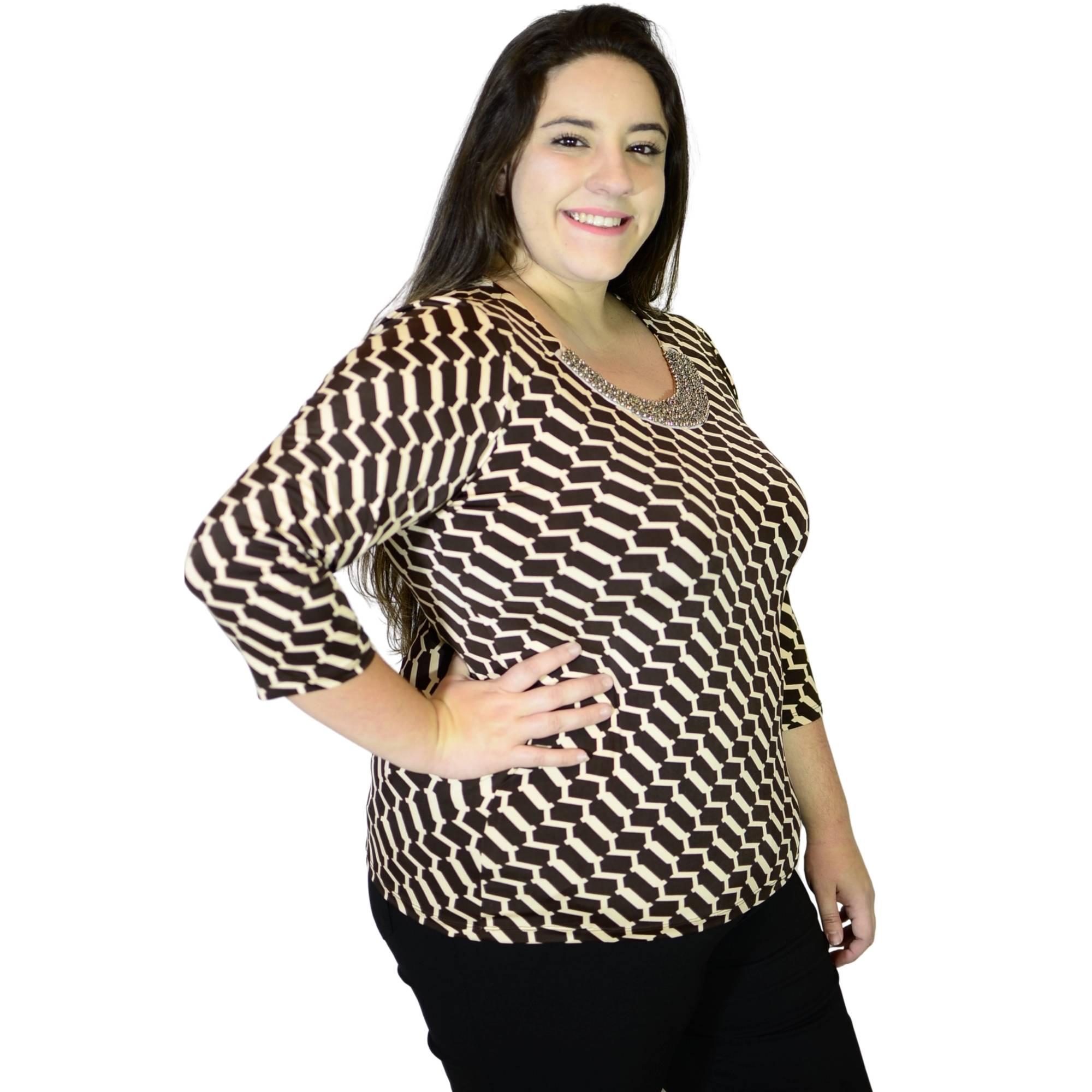 Blusa Decote Bordado Marrom 2155