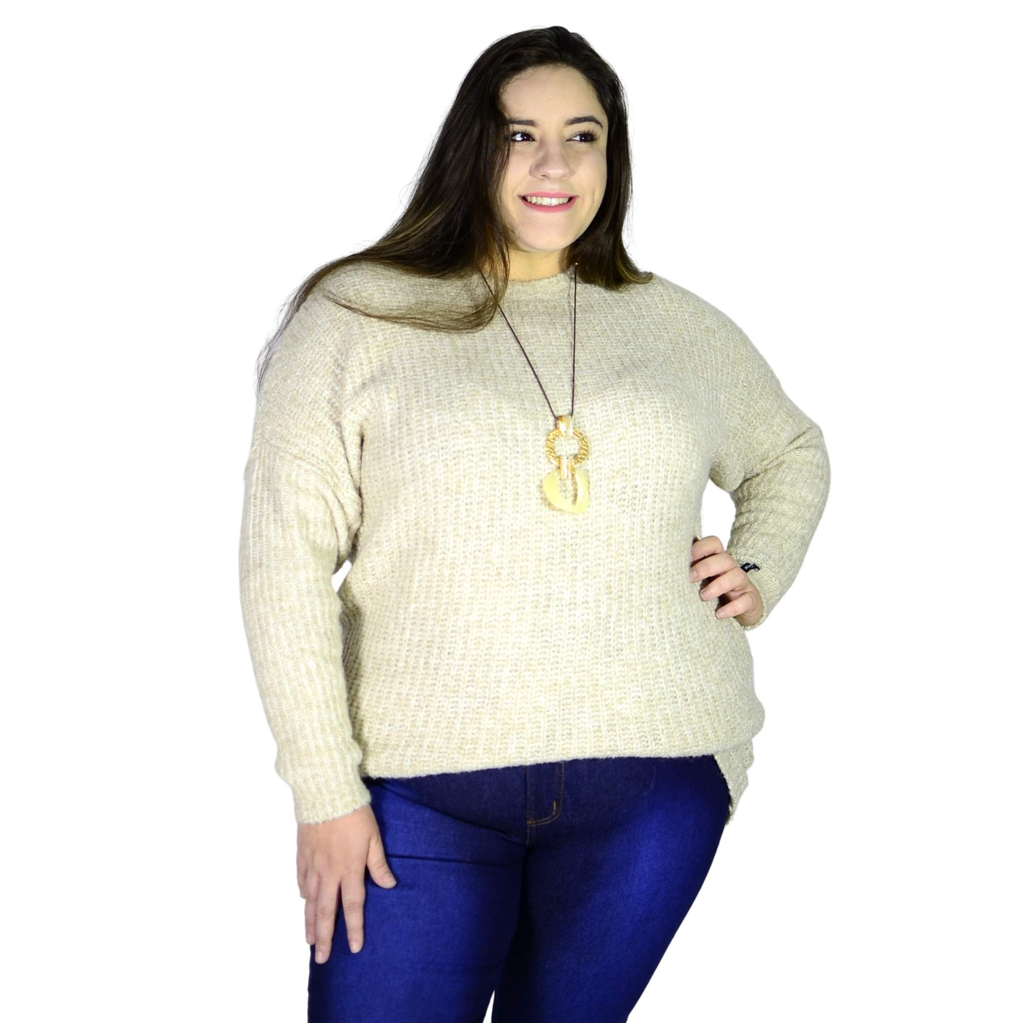 Blusão Tricot Bege Alongado 4849