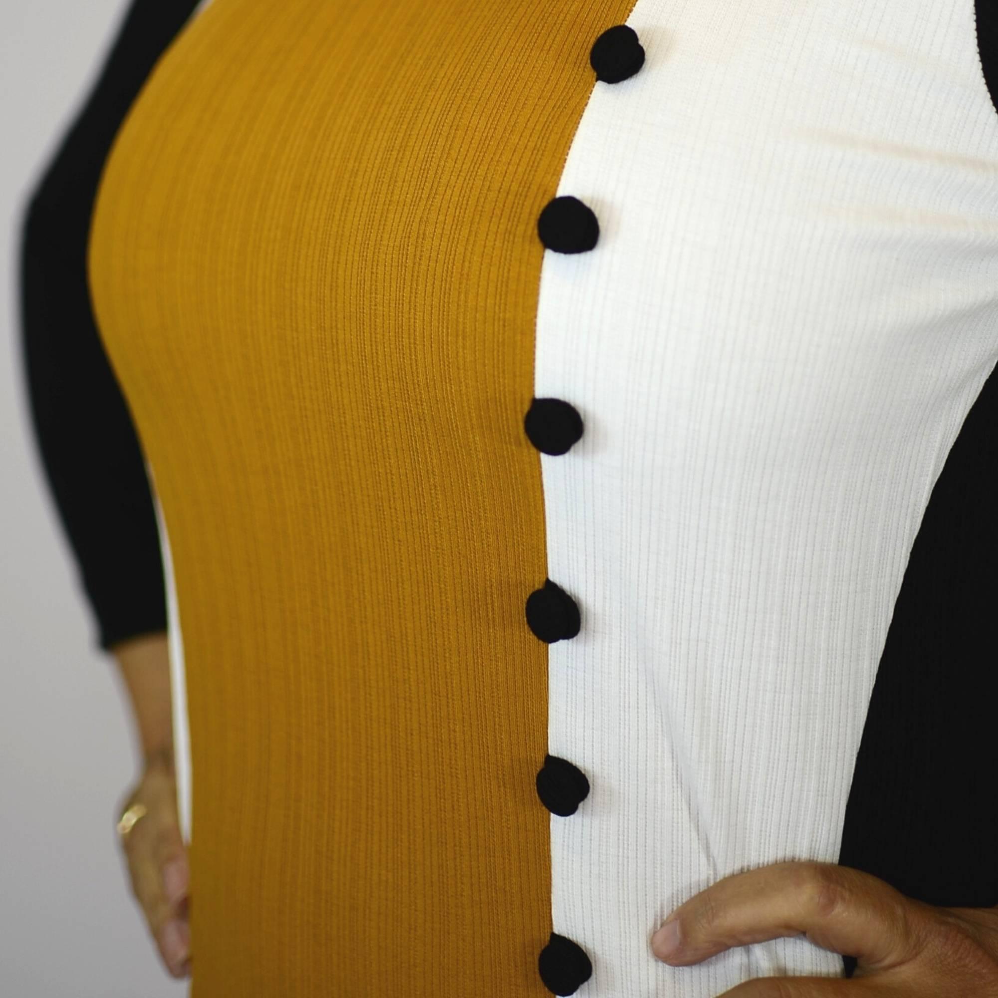 Vestido Canelado Com 3 Cores 2217