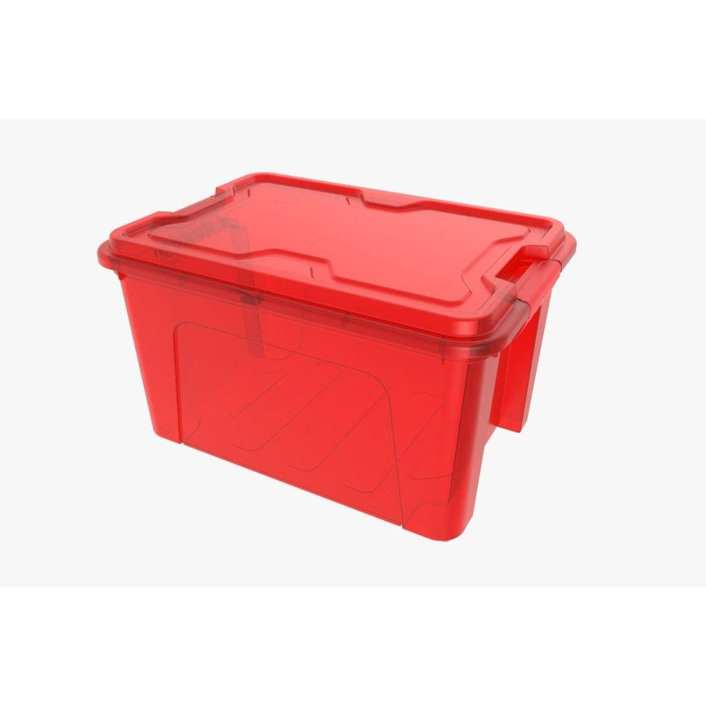 Caixa organizadora 20 Litros Com Travas Usual Plastic Vermelho