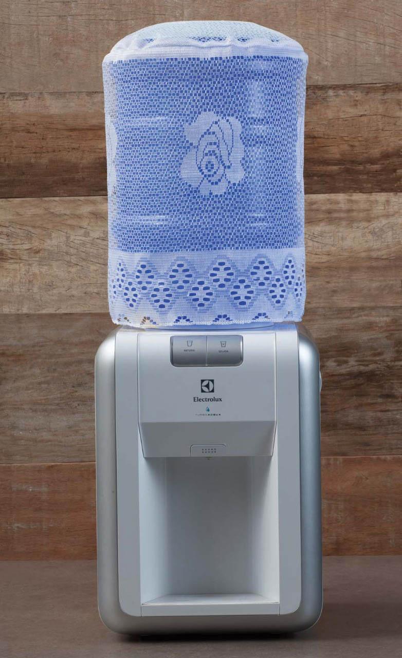 Capa Para Galão de Água 20 Litros em Renda Floral Branca