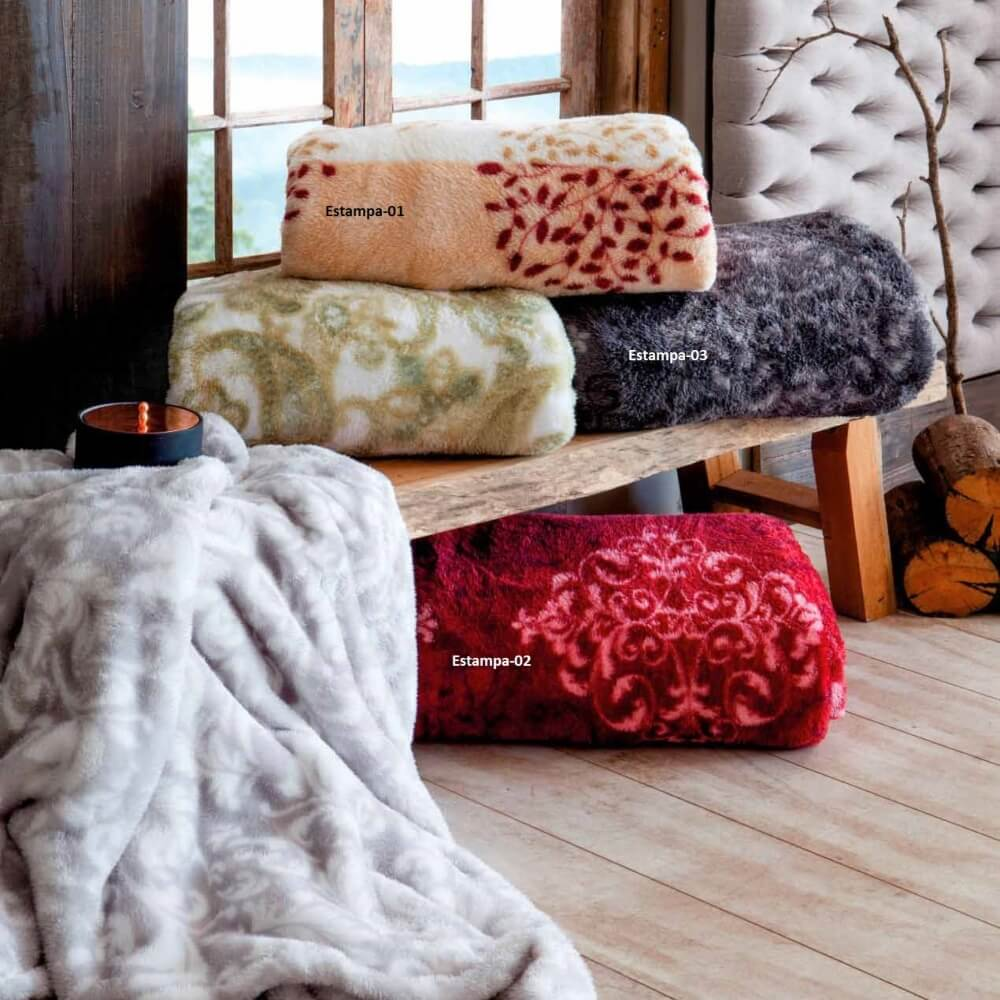 Cobertor Manta Mont Blanc Pelo Alto Queen Rozac - Estampa 01