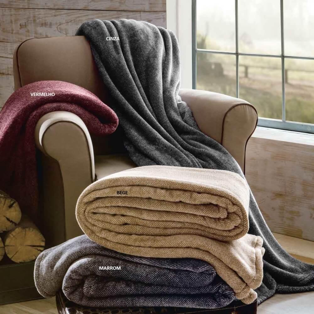 Cobertor Manta Ultra Soft Macio Melange Queen Rozac - Bege
