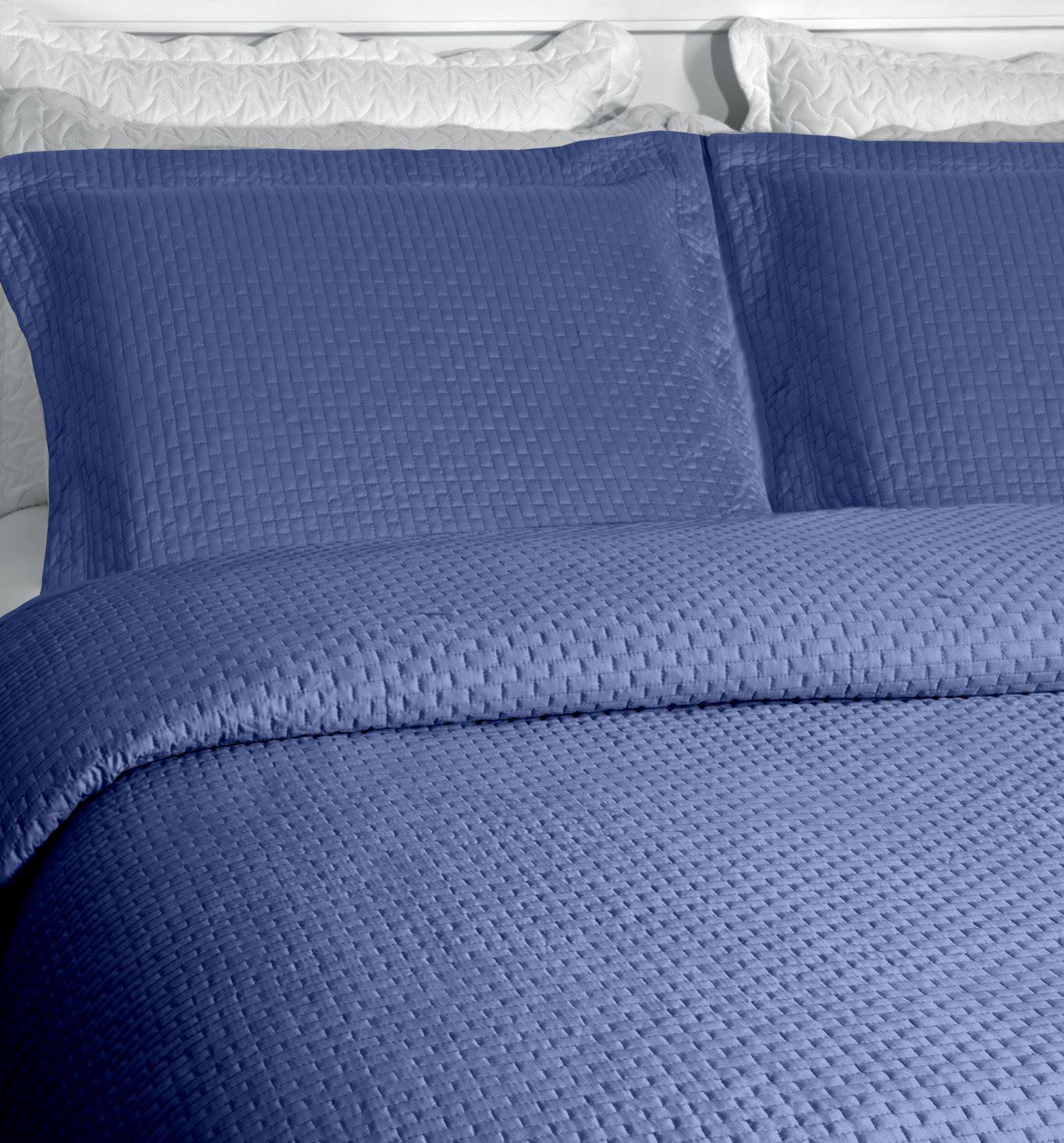 Cobre Leito Colcha King 400 Fios 100% Costurada 3 Peças Melbourne Rozac Azul