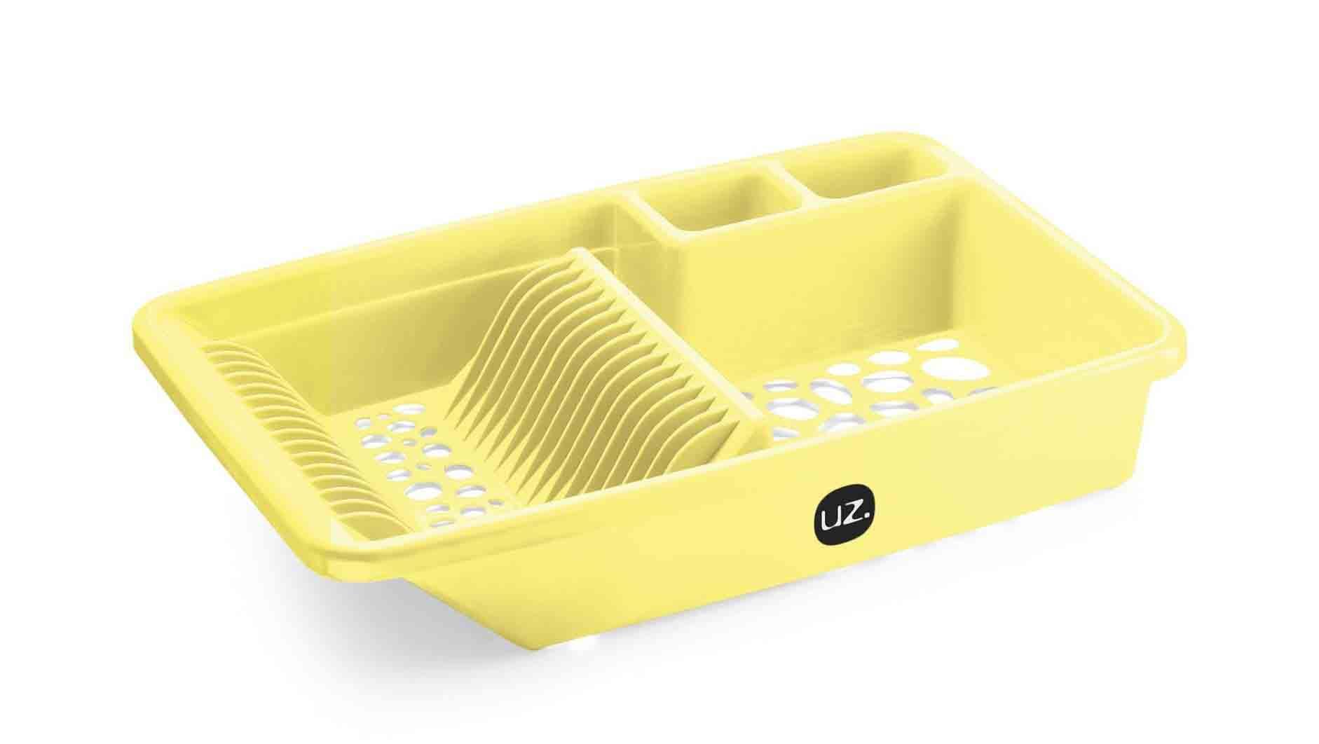 Escorredor De Louças Pratos E Talheres Cozinha Uz Amarelo