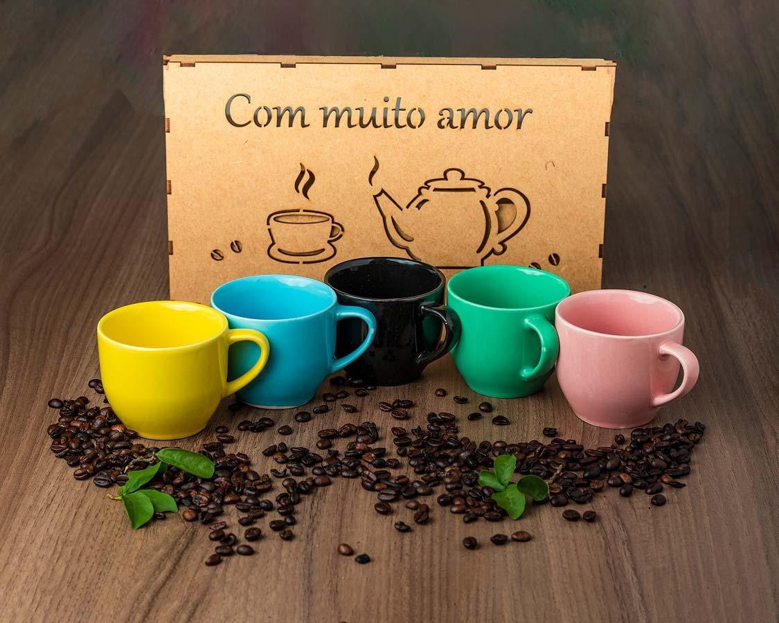 Jogo 6 Xicaras Café Chá Porcelana 170ml Com Caixa