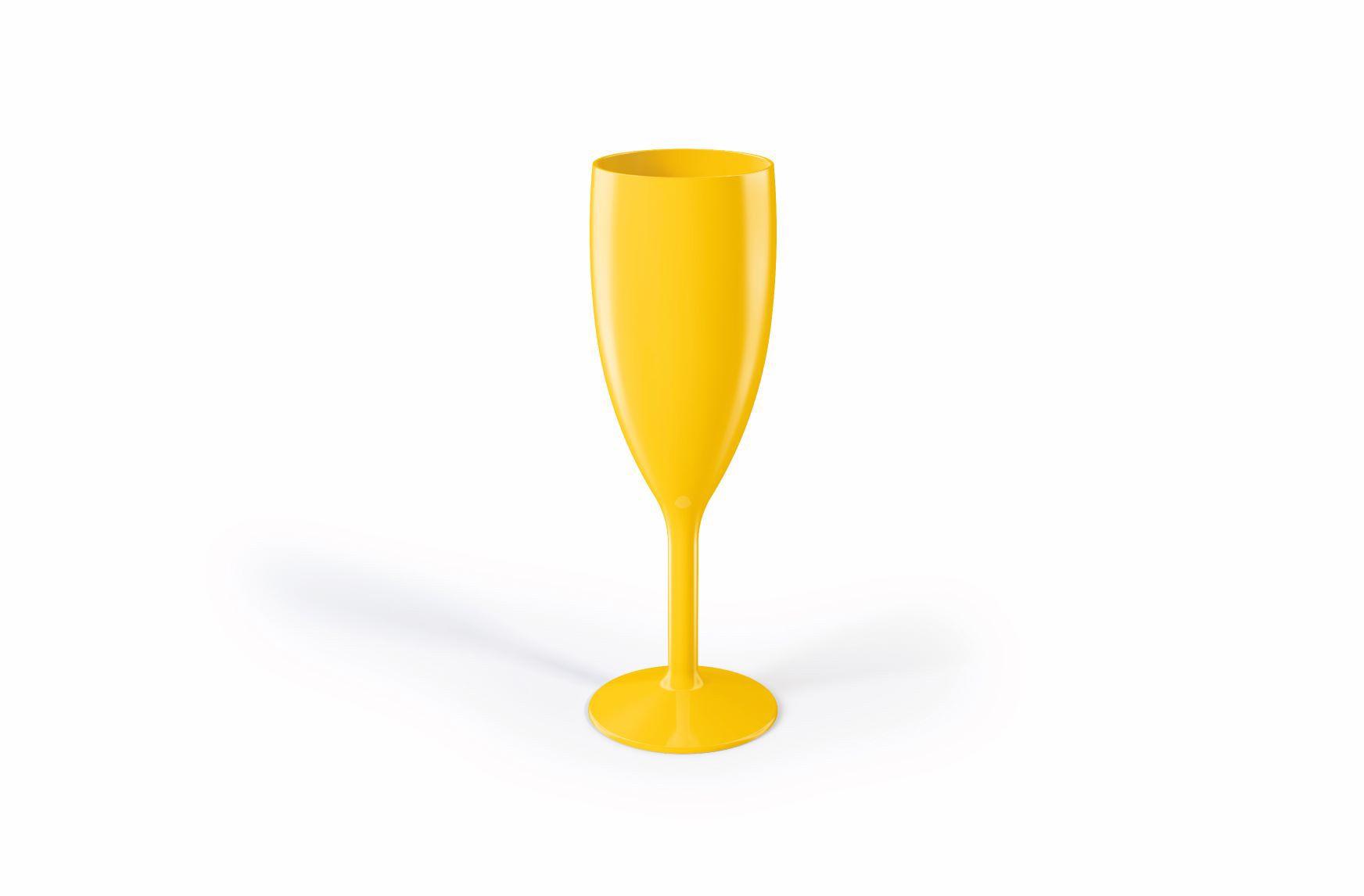 Jogo de 6 Taças Para Champanhe Gold 300ML UZ Utilidades - Amarelo