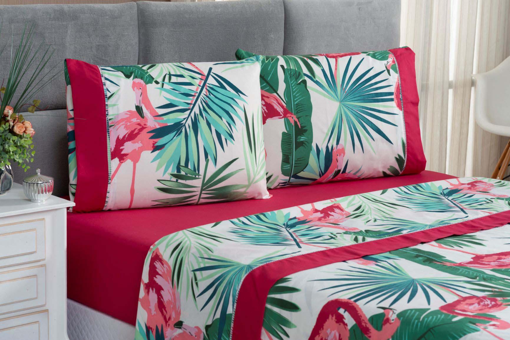 Jogo de Cama Lençol King 4 Peças Micropercal 200 Fios Naturale Flamingo Rosa