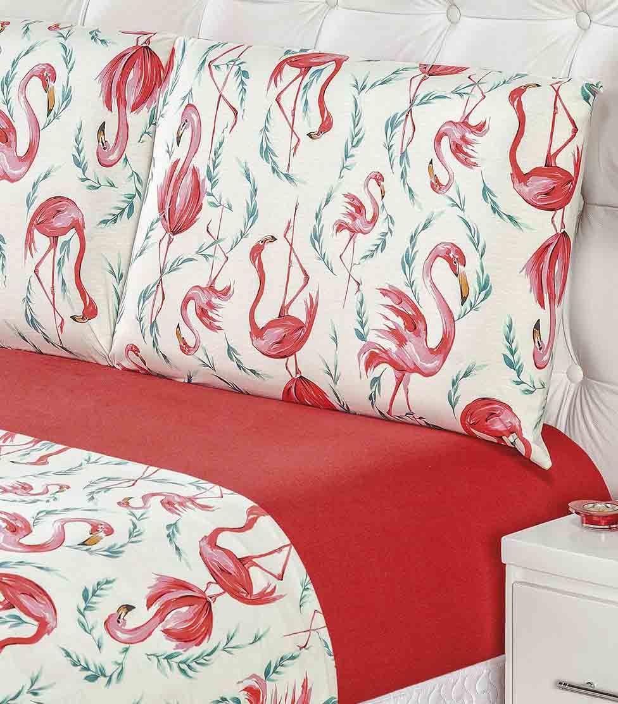 Jogo de Cama Lençol King Quality Malha 100% Algodão Fio 30/1 Penteado 4 Peças Flamingo