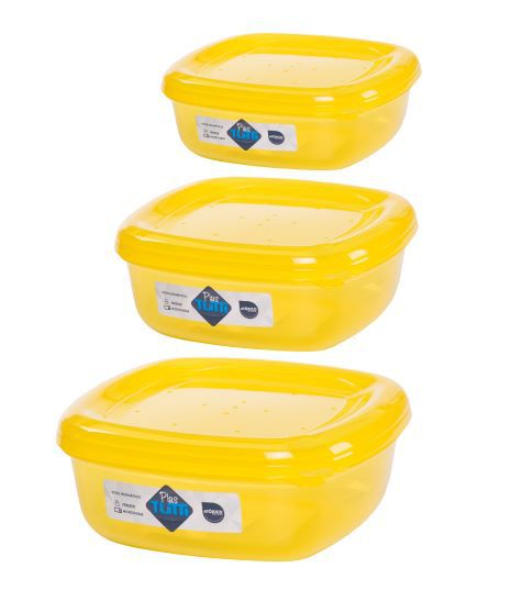 Jogo de Potes De Plástico Quadrados 3 Peças Super Resistentes Plastutti - Amarelo
