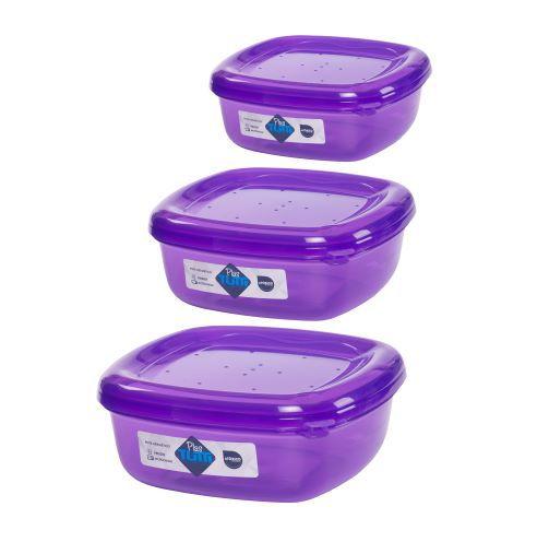 Jogo de Potes De Plástico Quadrados 3 Peças Super Resistentes Plastutti - Roxo