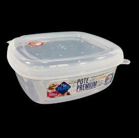 Jogo de Potes De Plástico Quadrados 3 Peças Super Resistentes Plastutti - Transparente