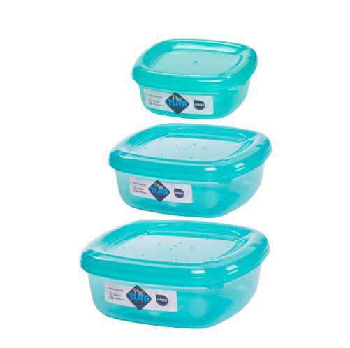 Jogo de Potes De Plástico Quadrados 3 Peças Super Resistentes Plastutti - Verde