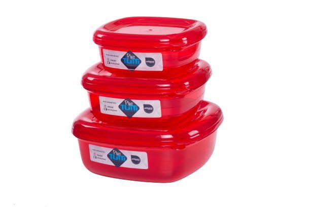 Jogo de Potes De Plástico Quadrados 3 Peças Super Resistentes Plastutti - Vermelho