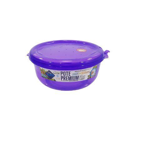 Jogo de Potes De Plástico Redondos 3 Peças Super Resistentes Plastutti - Roxo
